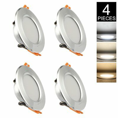 "4 Pack Ceiling Panel Lights Dimmable Led Downlight 3 Colors 3"" White Recessed"