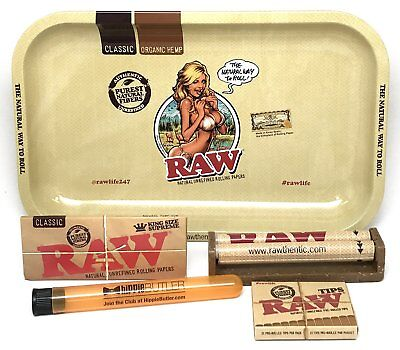 """RAW Rolling Tray (Small) """"Artwork By Rockin' Jelly Bean"""" King Size Bundle"""