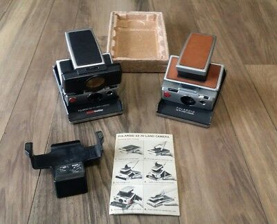 Lot Of 2 Vintage Polaroid Sx-70 Instant Land Cameras W/ Tripod Mount & Manual