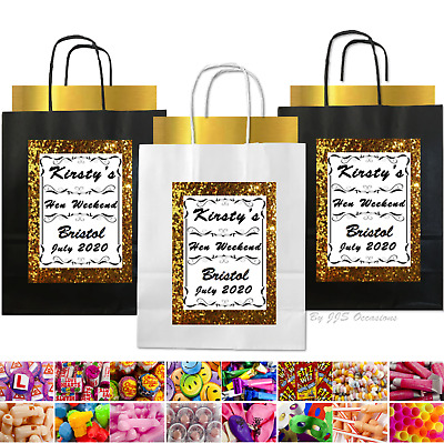 Hen Party Bag Gold Glitter Effect Personalised Black Gift Idea Filled Or Empty