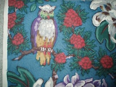 UNUSUAL Beautiful Vintage Screenprint OWL FABRIC. wonderful design. SPECIAL !!