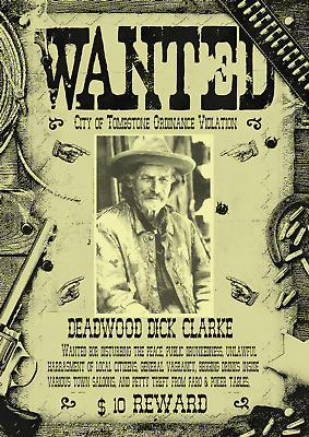 Old West Wanted Posters Hickok Deadwood Cowboy Western Earp Outlaw Ok Corral