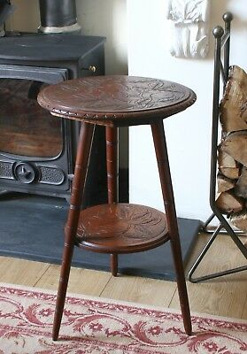 Antique Art Noveau/  Arts And Crafts Carved Tripod Table Side Coffee