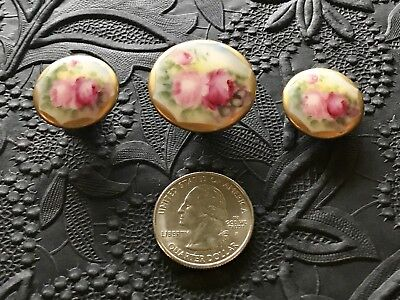 Vintage Antique Lot of 3 Beautifully Hand-Painted Porcelain Roses + Gold Buttons