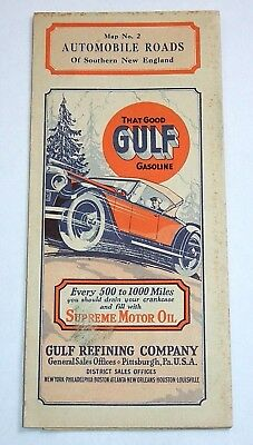 Vintage 1929 GULF Gasoline MAP no.2 Automobile Roads of Southern New England