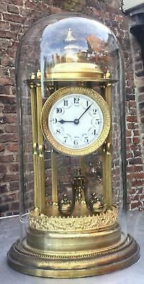Antique 400 Day Anniversary Torsion Bandstand Clock With Original Glass Dome