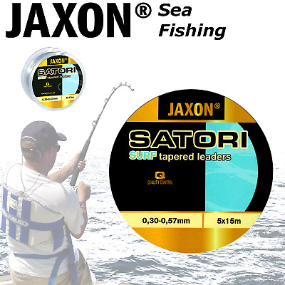 Tapered shock leaders for SEA FISHING 5x15m Jaxon SATORI SURF Conger Sea Bass