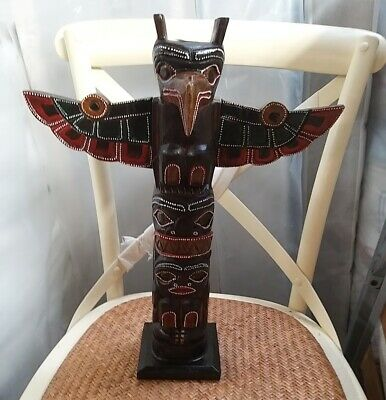 Totem pole 40cm hand carved wooden painted Native American man cave