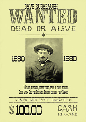 Old West Wanted Posters Cowboy Outlaw Billy Kid Western Bandit Earp Doc Train