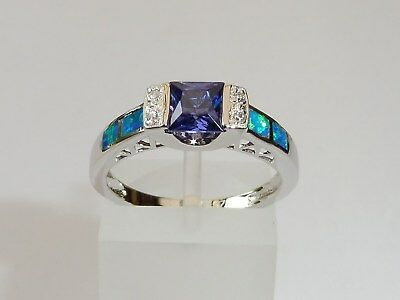 Ladies 925 Sterling Solid Silver Princess Cut Tanzanite Opal White Sapphire Ring