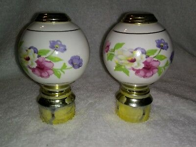 Vintage Pair of Brass Ceramic Finials Floral Bed Post Knobs