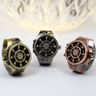 Antique Alloy Bronze Gift Unisex Ring Watch Finger Watch Jewelry Rudder Design