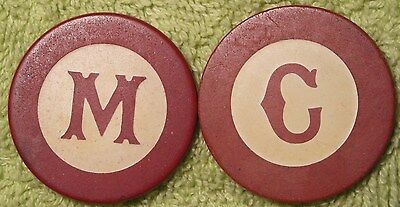2 monogram inlaid antique poker chips a C and an M