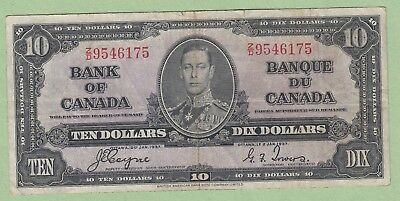 1937 Bank of Canada 10 Dollar Note - Coyne/Towers - Z/D9546175 - VF