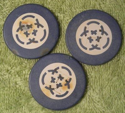 3 antique clay poker chips inlaid Champion hotctamped M-H