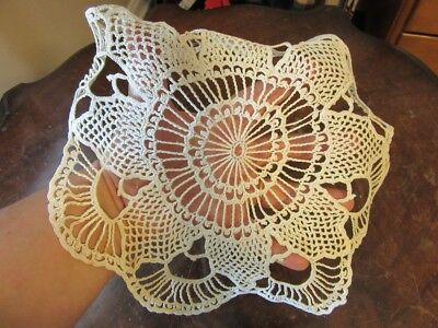 """Vintage 10"""" round table linen doilies. Hand made. Crocheted lace."""