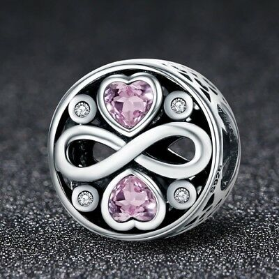 Stunning 925 Infinity Love Charm With Cubic Zirconia Studs
