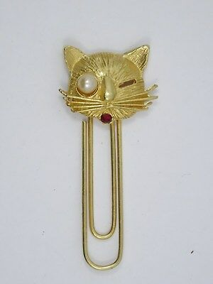 VINTAGE CUTE CAT with FAUX PEARL & FAUX RUBY GOLD TONE BOOKMARK ~ 2.25""