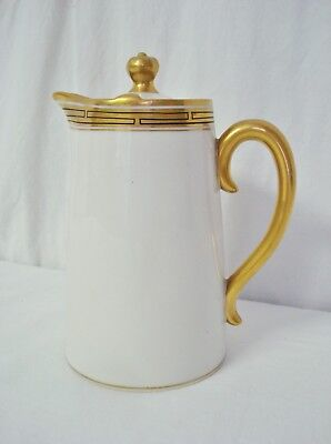 Pickard PIC45 Individual Coffee Pot Gold Black Geometric Limoges China AS IS