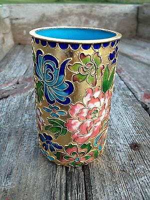 1930's Fine Chinese Cup Gold Flake Cloisonne Enamel Blue Jade Inside and Bottom