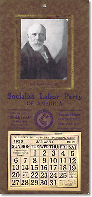 1935 Socialist Labor Party Wall Calendar With Portrait Of Daniel De Leon