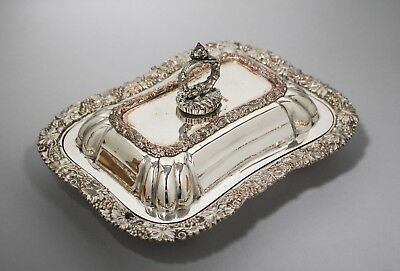 Antique silver on copper entrée breakfast dish tureen ornate grapevine