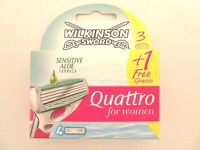 Wilkinson Sword Quattro For Women Sensitive Aloe Razor Blades - Pack Of 4