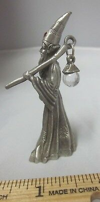 "Vintage GALLO Pewter Wizard Figurine Crystal Jeweled 2.5 "" NOS Hobo Traveler NOS"