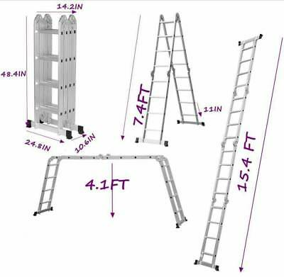 15.4FT Heavy Duty Multi Purpose Aluminum Folding Step Ladder Scaffold Extendable