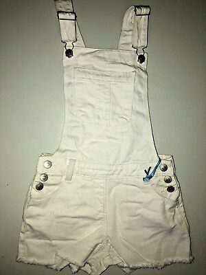New Kids Girls Denim Stretch White Dungarees Playsuit Jumpsuit Long Dress UK