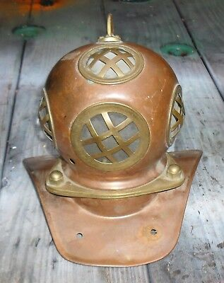 Small Vintage Copper And Brass Diving Helmet Table Size Room Decor / Lamp Base