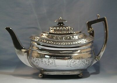 George III Sterling Silver Engraved Tea Pot William Knight II/William King 1811