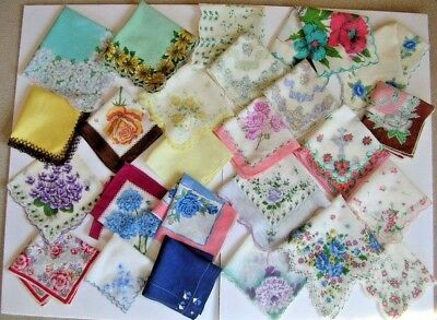 lot of 25 vintage handkerchiefs floral hankies for craft use