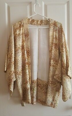 Awesome VINTAGE Kimono Handmade Silk? ORIGINAL Real thing! Jacket Top 3/4 Sleeve