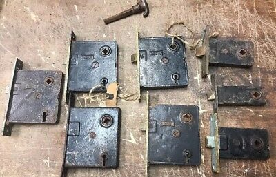 Set Of 8  Old Russwin Locks No Keys, Brass Faceplates