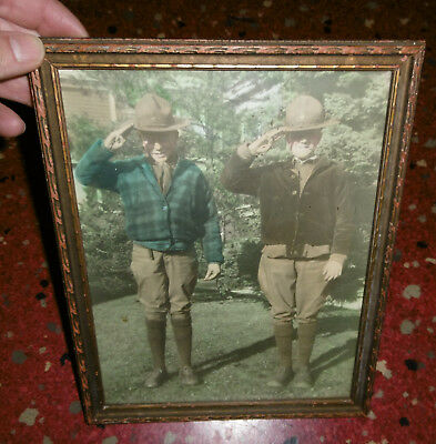 Vintage Proud Boy Scouts Posing For Photo Hand Colored Photograph In Frame