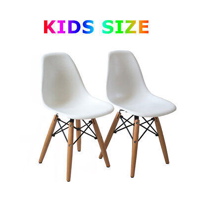 Merveilleux Set Of 2 White Eames Style Kids Wooden Legs Armless Chairs