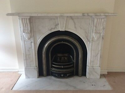 FIREPLACE CARRERA MARBLE REAL FLAME GAS ARCHED BLACK FIREBOX CAST IRON INNER  Jk