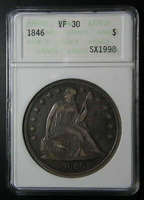1846 ANACS VF30 Seated Liberty Silver Dollar $1 Coin Lot# SR 1222
