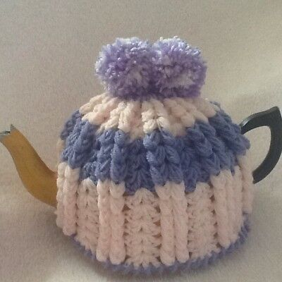 Hand Crocheted Tea Cosy Soft Pink And Mauve Colour