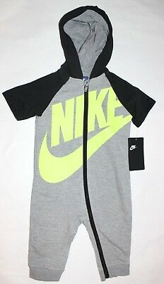 NIKE baby Boys 12M or 18M Hooded Bodysuit 1 pc outfit Gray Neon NEW