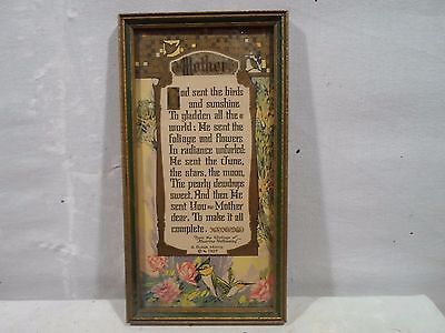 Art Deco frame, poem to Mother, 4  X 8 inches, # 1148, dated 1927