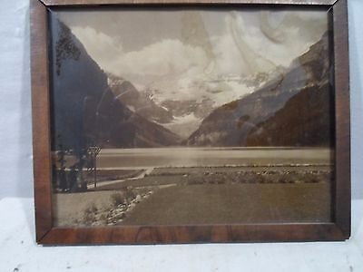 wood veneer picture frame, mountain scene with glacier, 7  X 9 inches, # 1164