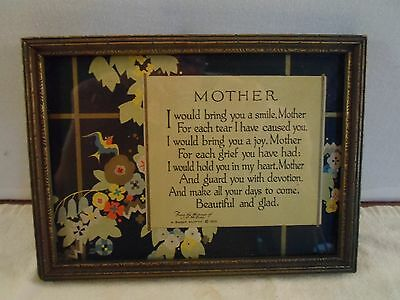 decorative wood picture frame,poem-Mother, 5 X  7 inches, # 1028