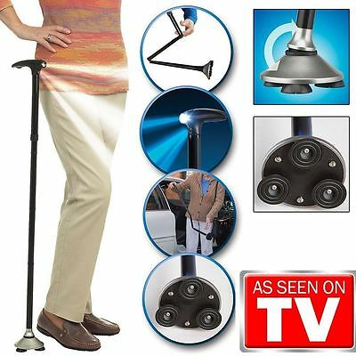 Folding Cane LED Metal Lights Walking Stick Triple Head Pivot With Base Hurry
