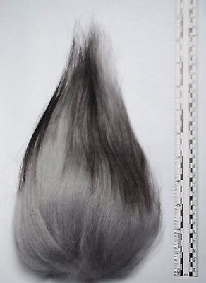 Troll Wig Doll Replacement Hair Mohair- Grey with Black Tips Icelandic Sheepskin