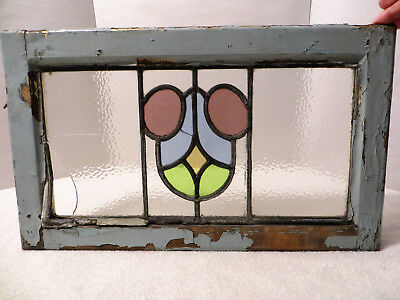 Vintage ENGLISH LEADED STAINED GLASS WINDOW SASH Antique 21 x 12.5 Multi-Colored