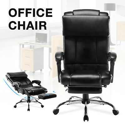Executive Reclining Office Chair High Back Leather Ergonomic Armchair w/Footrest