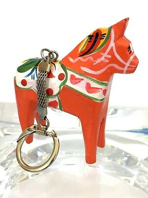 Scandinavian Dala Horse Wooden Hand Carved & Painted Key Chain