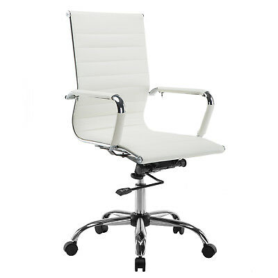Modern White Ergonomic PU Leather High Back Executive Computer Office Chair